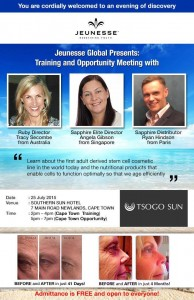 Jeunesse Meeting Cape Town. Please join us